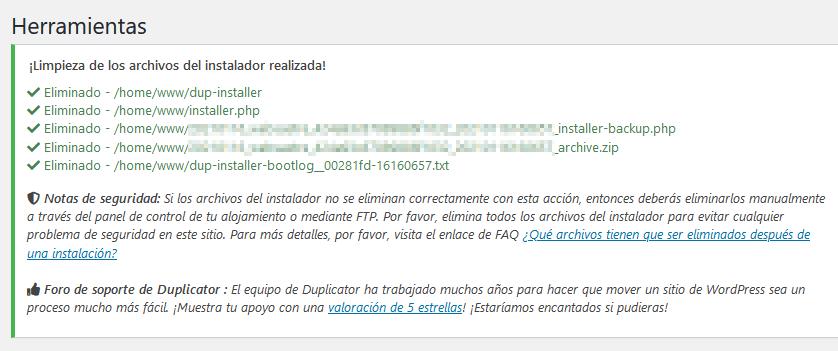 duplicator paso 4 de 4 limpieza archivos realizada