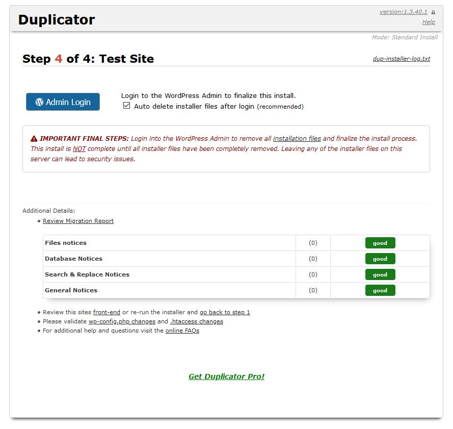 duplicator paso 4 de 4