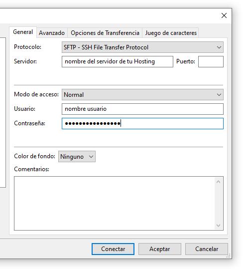 filezilla nuevo sitio nombre servidor