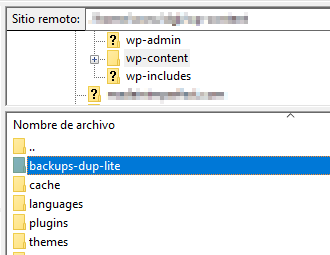 filezilla ubicacion archivo comprimido duplicator
