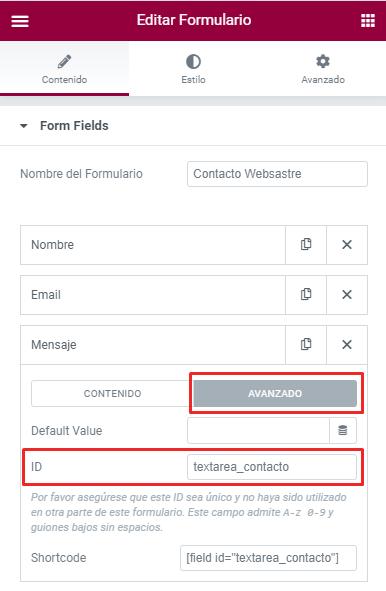 elementor pro formulario contacto id