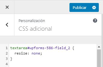 escritorio wordpress personalizar css adicional textarea