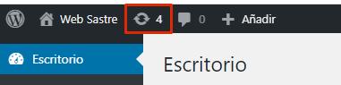 imagen escritorio WordPress indicación actualizaciones pendientes