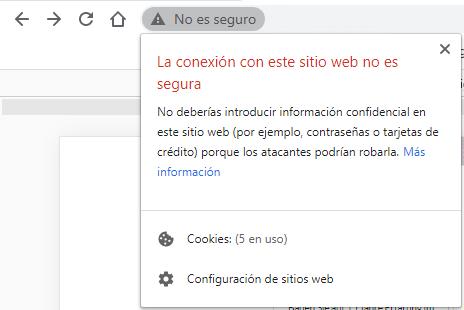 navegador google chrome web http no segura alerta