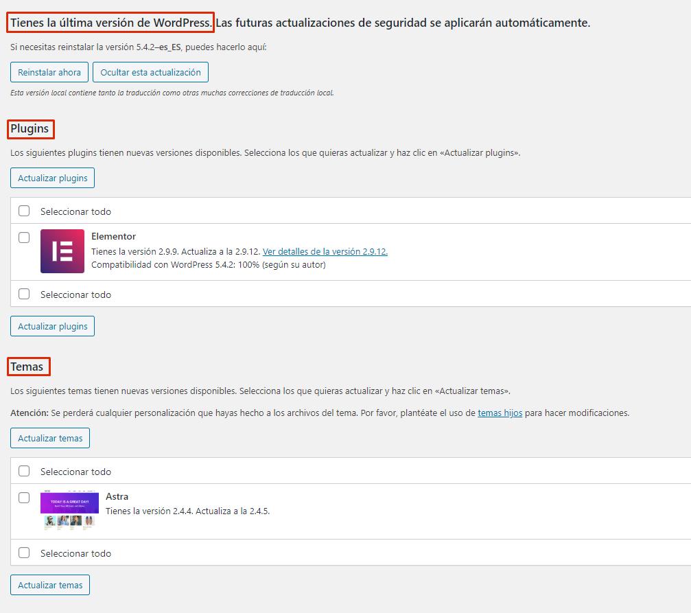 página actualizaciones WordPress, plugins y tema