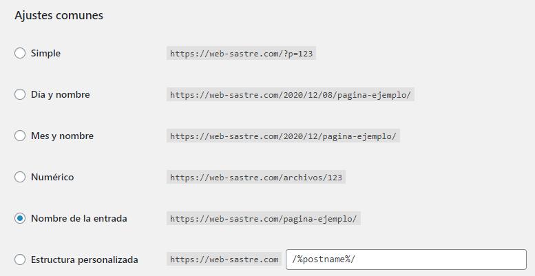 wordpress ajustes enlaces permanentes