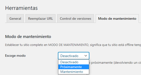 wordpress elementor modo mantenimiento