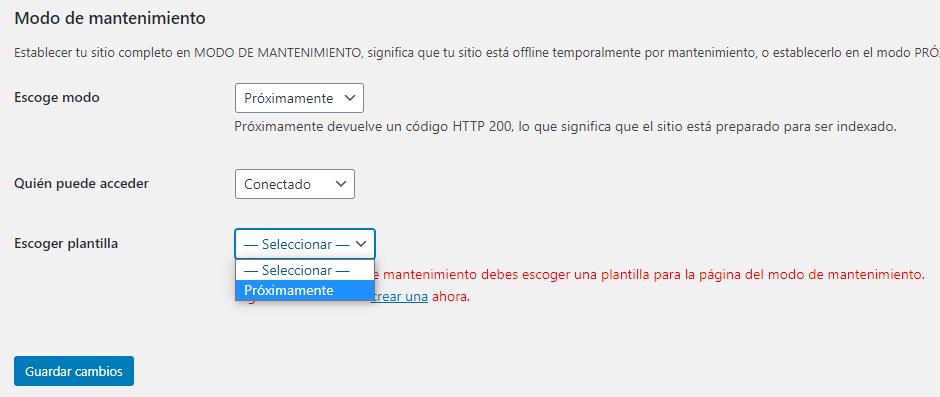 wordpress elementor modo mantenimiento proximamente