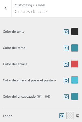 wordpress ajustes colores de base
