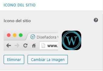 wordpress ajustes subir icono del sitio