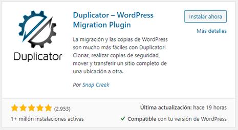 wordpress instalación plugin duplicator