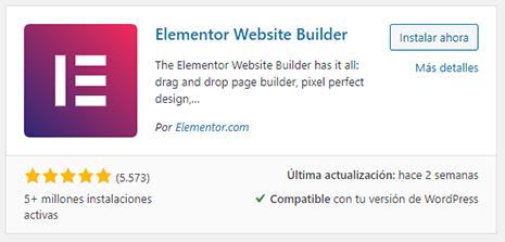 wordpress instalación plugin elementor
