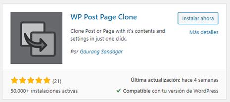 wordpress instalación plugin wp post page clone