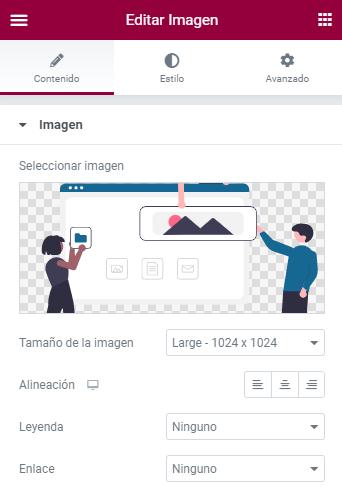 trucos elementor widget imagen subido