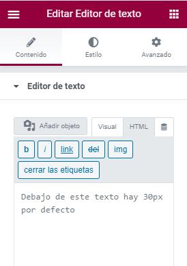 wordpress elementor 30px por-defecto widget texto edicion html