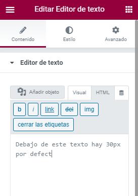 wordpress elementor 30px por defecto widget texto edicion html eliminar ultima letra