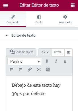 wordpress elementor 30px por defecto widget texto edicion visual