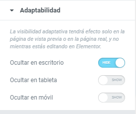 elementor adaptabilidad escritorio tableta móvil