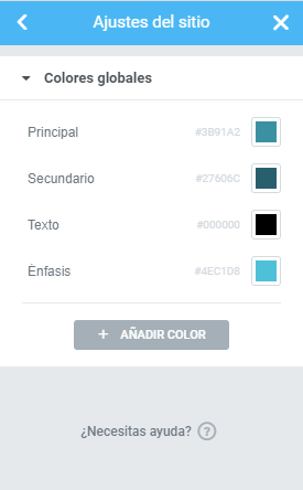 elementor colores globales