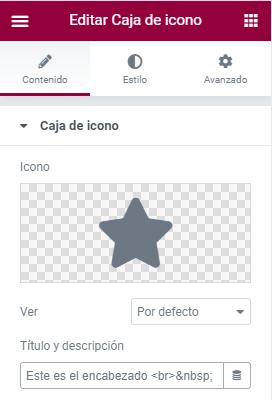 añadir espacio en título caja icono elementor